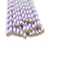 25 x STRIPED PAPER DRINKING STRAWS-RAINBOW MIXED FOR PARTY TABLE DECORATIONS- PASTEL LIGHT PURPLE STRIPE - 400098