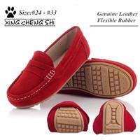 wholesale price unisex flexible rubber genuine leather boy flats shoes girl shoes