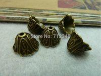 20Pcs Flower Beads Cap Antiuqe Bronze Tone DIY Jewelry Findings