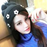 Harajuku style chrysanthemum little daisy gauze veil knitted hat fedoras