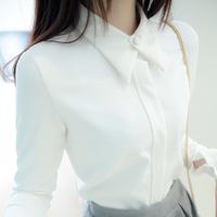 2014 Women Casual Solid Color Long Sleeve  Mdium-long  Chiffon Blouse Fmale White Shirt(S,M,L,XL)