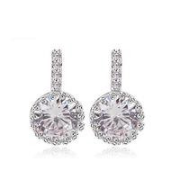 2015 Tiny Swiss Romantic Wedding Stud Earrings Wholesale sliver Plated  Korean Style Fashion Jewelry