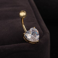 Fashion 18k white yellow Gold Plated Belly Sexy Navel Ring Love Heart Button Body Jewelry Piercing for Women