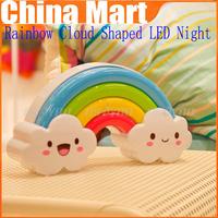 New Arrival Rainbow Cloud Shaped LED Night Light Sound Light Sense Control Lamp Wall Sticker,free shipping &drop shipping