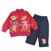 Wholesale lot new girls outfits brand girls clothing sets peppa pig girls winter sets 2pcs fleeced zip jacket sweater+long pants