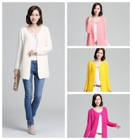 YUA701 Lady Cardigan Sweater Coat Medium Long Solid colar O neck Women Fashion Autumn Soft Sweater Outwear Free Size