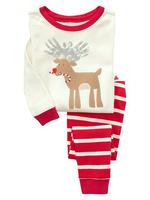 christmas pajama clothes set fashion deer cartoon stripe kids baby boys girls children Christmas deer pajamas clothing sets