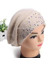 Fahsion Warm Women's Rabbit Fur Beanie cap for women winter Woolen Jewelry knitted hat