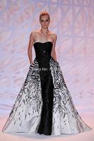 ZH06 New Designer Elegant A-Line Sweetheart Zuhair Murad White Black Long Evening Dress Party Gowns Vestido de Festa 2015