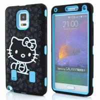 Hot Sale Cute cartoon hello kitty print heavy duty Hybrid PC+silicone Soft Hard protective case For Samsung galaxy note 4 N9100