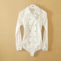 Fanshou Free Shipping 2014 Women Blouse Long Sleeve Bodysuit Double Breasted Body Shirts Women Casual Blouse Blusas Femininas