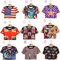 Spring Summer New 2015 Women Crop Top Ladies Short Sleeve T Shirt Printed Bare Midriff  T Shirt Women Clothing T001