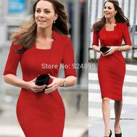 2015 Hot  Fashion OL Women Square  collar half   Sleeve Sheath Shift Party Cocktail  career dress Y159