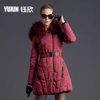 2014 Real fur slim real fur coat medium-long down female wool collar thickening winter jacket