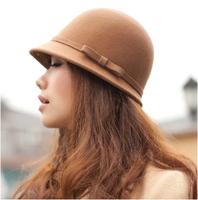 Autumn and winter women's cashmere woolen hat bucket hats women's small fedoras female fashion vintage
