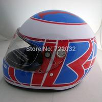 Motorcycle ran full face helmet helmet glass F1 helmet winter white and blue