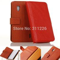 Flip PU Leather Wallet Style Soft Case +Film for LG Optimus E973 E975