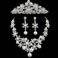 2014 Fashion 3 PCS Tiara Crown Necklace Earrings Pearl Jewelry Set
