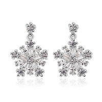 2015 HOT SELL!!! Popular Christmas Gift Snowflake Cubic Zircon Drop Earrings CZ Stone Earrings for Women White Gold Plated