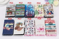 1pcs/lot Colorful Cartoon Flowers Animal owl Wallet Leather case For iPhone 6 Plus 5.5 inch with stand and card slot