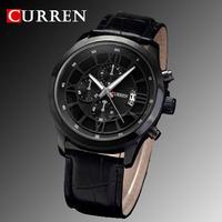 2015 Curren Leather Strap Watches Men luxury Brand New Black Military Quartz Clock Fashion Casual Sports Wristwatches 8029