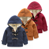 Children's clothing winter 2014 plus velvet thickening male child wool coat horn button child baby outerwear