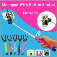 2 in 1 Expandable Handheld Tripod Camera Monopod Selfie Stick + Wired Mobile Phone Holder Monopod for iPhone Samsung gopro