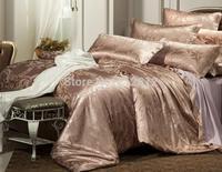 Home Textile luxury Brown silk Jacquard Floral designer's beddings set wedding decoration bed sheet/duvet cover set king/queen