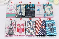 10pcs/lot Colorful Cartoon Flowers Animal owl Wallet Leather case For iPhone 6 Plus 5.5 inch with stand and card slot