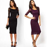 vestido de renda feminino 2014 Autumn women long sleeve maxi dress Slim lace dress vestidos renda pencil dress