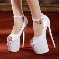 2014 women ultra high heels 19 cm open toe high heels women's pumps red bottom shoes High quality women sexy evening pumps