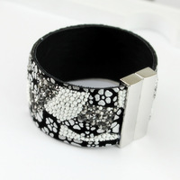 New Year's gift / fashion women leather bracelet rhinestone crystal beads add geometric patterns