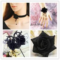 NECKLACE+BRACELET+ RING+earring SET ribbon black flower bridal jewelry sets nigerian wedding african beads jewelry set crystal