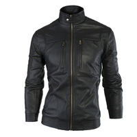 2014 Mens Leather Jacket and Coat Winter Casaco Brand Fashion Casual Black Leather Motorcycle Jacket Man For Biker XXL