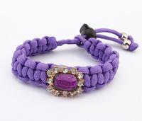 2014 Crytal Statement Bracelet Flower Charm Bracelet Hand - Woven Rope Bracelets & Bangles pulseras mujer SL106858