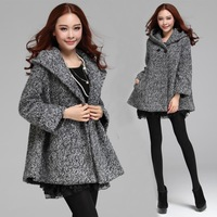 Brand 2014 Autumn Winter Luxury Warm Women Loose Hooded Cape Woolen Trench Coat Casual Outerwear Big Size
