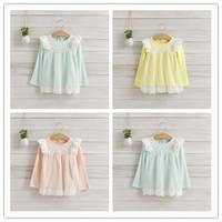 Hu Sunshine wholesale new 2014 summer fashion Cute Girls mesh lace round neck long-sleeve T-shirt WW11272585H