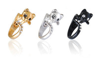 Hot Sale Beautifui CZ Crystal Cat Animal Wrap Ring - Silver For Woman Unique Rings Free Shipping