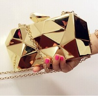 Fashion Geometric 3D Gold Metal Chain Ladies Handbag Evening Bag Women's Day Clutches Mini Wedding Party Shoulder Bags