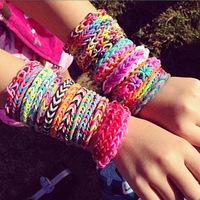 Handmade Bracelet DIY diy Colorful Bracelets Bangles 200-240 Pieces/Pack Rubber Loom Bands Kit Free Shipping