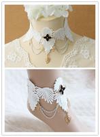 Necklace+anklet 24k gold jewelry set white lace designer gift set enamel jewelry costume jewelry chain for vestido de festa