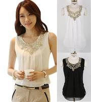 Women Chiffon Tops Blouses New 2015 Fashion Spring Summer White Black Casual Shirts Blusas Camisas Roupas Femininas