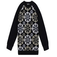 No Profit women's autumn spring kroean Totem sequins sweashirts female oversize loose pullovers bottoming thick velvet long tops
