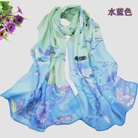 2014 new fashion chiffon brand scarves size 160*50 cm lady fashion flower printed multicolor desigual scarf Shawl Bandana