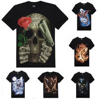 Men's 3d T-shirt 2014 New Fashion Design Guns N Roses Skull Casual Fitness Male 3D Animal Camisetas Masculinas Novelty Z1201