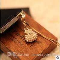 100pcs/lot Bag Pearl And Diamond Cell Phone Dustproof Plugs Cell Phone Accessories DHL Free Wholesale