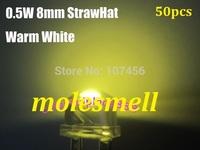 Free shipping 50pcs 0.5W 8mm 140 degree StrawHat warm white LED 10000mcd 150mA 50pcs/lot 8mm straw hat warm white led