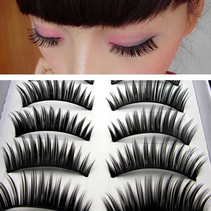 High Quality 10Pairs Handmade False Eyelashes Human Hair Winged False Eyelashes Free Shipping(China (Mainland))