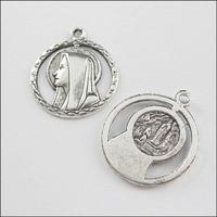 YBB Wholesale 20x25mm Zinc alloy Tone Antiqued Silver Charms religious head Pendants LY532