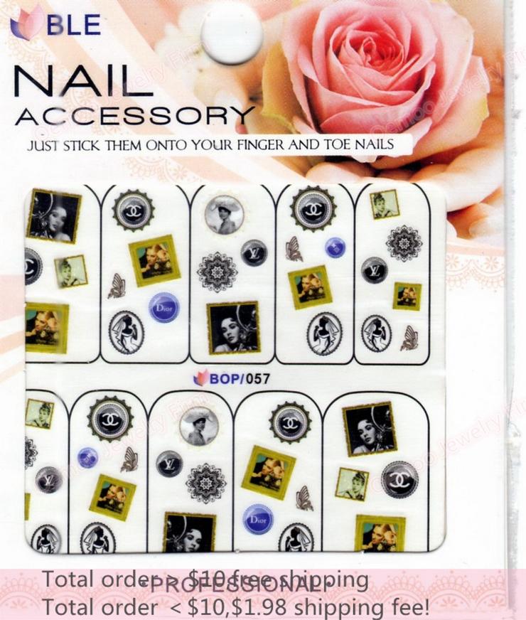 Min order $10 Nail Art 20Sheets/Lot 10 Designs Hepburn/Brand Nail Sticker 3D Glitter Powder Nail Water Transfer Decal BOP057(China (Mainland))